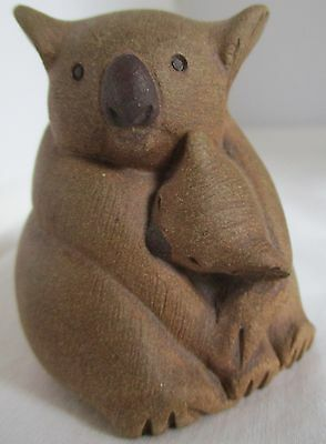 Beautiful Pottery Koala Mama And Baby Miniature Figurine