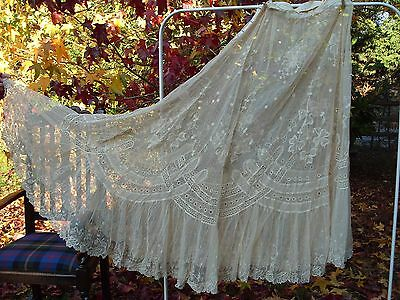 Antique Lace Skirt Embroidery Embroidered Needlework Costume Clothing Vintage