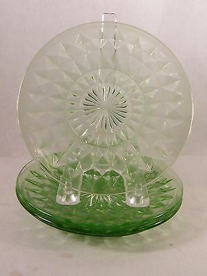3 Windsor Diamond Green Bread And Butter Plates