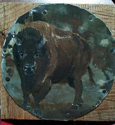 Oil Painting Folk Art Buffalo On Metal And Wood   Cheryl Korb