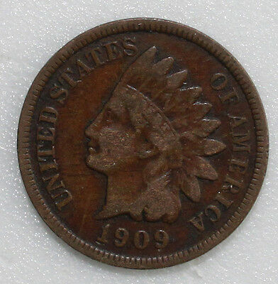 1909 S Indian Head Cent Copper Penny Type Coin Key Date Genuine VG Indianhead