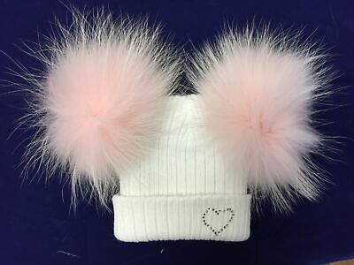 Stunning Baby Double Fur Pompom Hat with rhinestones/Real Fur Pom/1-2 Years