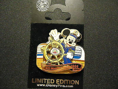 Disney Dcl Cruise Line Dvc Members Cruise 2006 Logo Mickey Pin On Card Le 1500