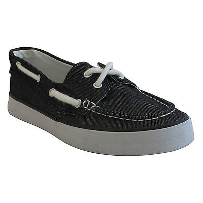 RocSoc Womens BOAT DECK SHOES size 8 NEW BLACK CANVAS SLIP ONS
