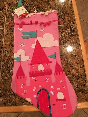 Pink Holiday Princess Castle Stocking - NEW