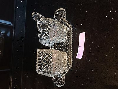 Vintage Glass Milk and Sugar Set with Tray