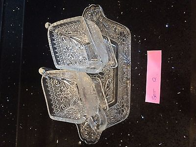 Vintage Glass Milk and Sugar Set with Tray - Set 12