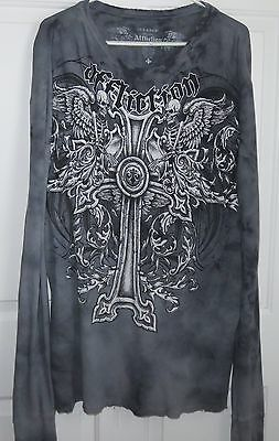 AFFLICTION Long Sleeve Gray Thermal T- Shirt Mens SIZE 2XL - XXL