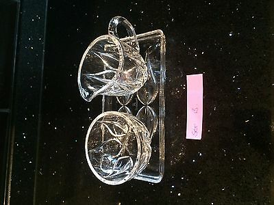Vintage Glass Milk and Sugar Set with Tray - Set 13