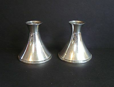 Reed & Barton ~ Mid Century Modern ~ Sterling Silver ( weighted ) Candle Holders