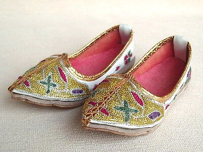 Old Asian Embroidered leather childs shoes