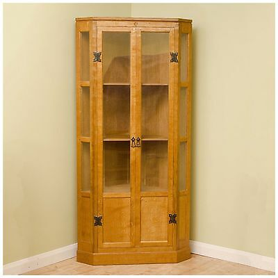 Yorkshire School (Mouseman style) Oak Glazed Floor Standing Corner Cupboard