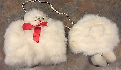 Vintage Rabbit Fur Cat Kitty Winter Muff And Cap Hat Childs Girls