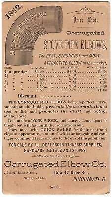 Rare 1882 Vintage Advertising Card Corrugated Elbow Co. Stove Pipe Elbows prices