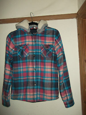 Girls Peter Storm Hooded Lumberjack Linedpink And Blue Shirt Size 13 Yrs