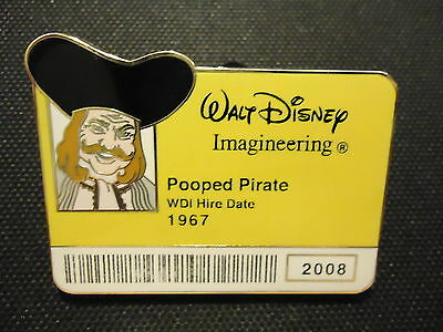 Disney Wdi I.d. Badge Series Pirates Of The Caribbean Pooped Pirate Pin Le 300