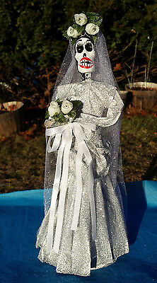 "La Novia Catrina Figurine 12"" Bride Handmade Paper Mache Mexican Day of the Dead"