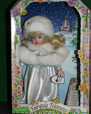 SNOW QUEEN Fairytale Treasures Porcelain Doll Brass Key 1999 NEW in BOX