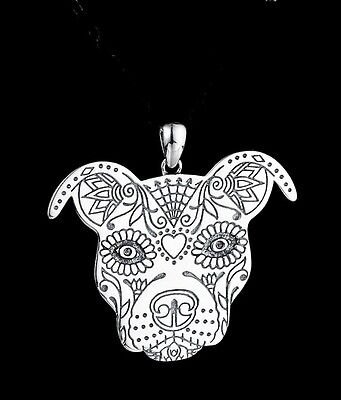 Sugar Skull Pit Bull Sterling Silver Charm - New - FREE SHIPPING