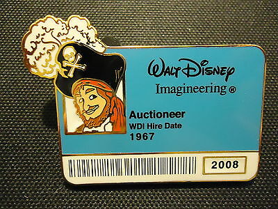 Disney Wdi I.d. Badge Series 2 Pirates Of The Caribbean Auctioneer Pin Le 300