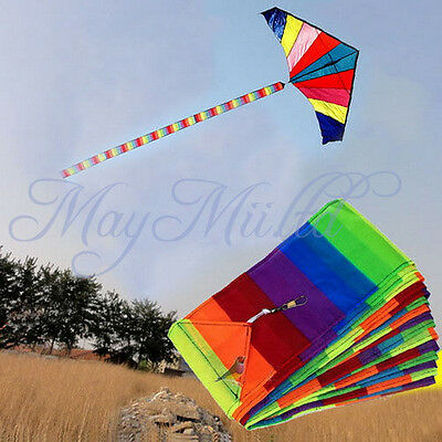 10M Super Nylon Rainbow Kite Tail Line Colourful Accessory Kids Toy Hot Z チ
