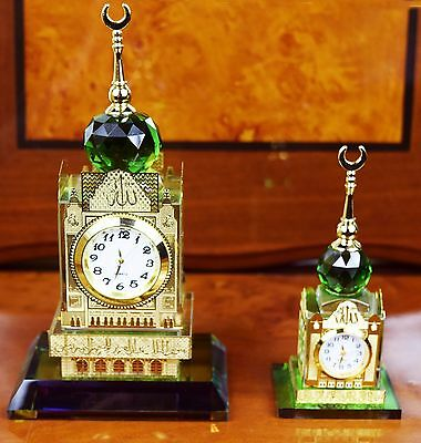 Crystal Glass Mecca Makkah Clock Tower Allah Allahu Ramadan Islamic EID Gift Box