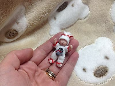 Handmade clay & soft body baby miniature sculpt doll OOAK 1:12 dollshouse Artist