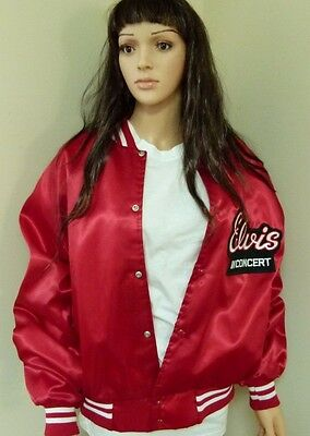 Elvis In Concert Red Nylon Tour Jacket-Stitched Elvis In Concert+Tcb Logo,beauty