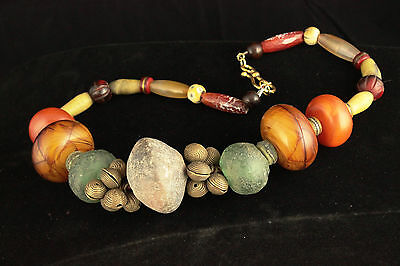 Tribal Style Necklace With Genuine African Beads And Tibetan Resin Beads