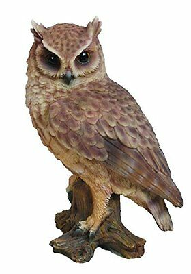 "SCREECH OWL On STUMP 6.75"" - Life Like Figurine Statue Home / Garden NEW"