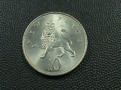 GREAT  BRITAIN    10 pence    1970      BRILLIANT  UNCIRCULATED   ,   LION