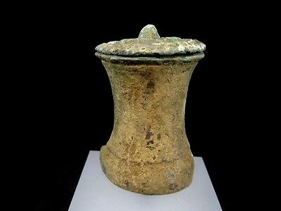 RARE ATTRACTIVE ROMAN BRONZE PIXIS COSMETIC POT with LID+++As Found+++