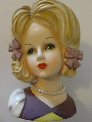 Vintage Relpo 2031 Head Vase Lady with Pearls 5 1/4 inches Free Shipping