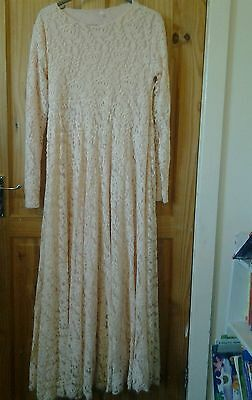 Peach Lace Abaya Kaftan Jilbab - Eid/Party wear size 54
