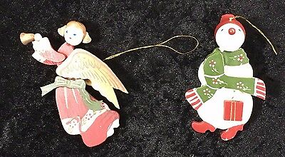 Vintage Wooden Ornaments - Set of 2 Snowman and Angel - Christmas Tree Decor