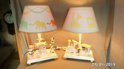 190M Vtg Pair Nursery Originals Musical Table Lamps w/Night Lights Orig Shades!!