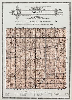 1921 Dover Michigan Map Cadmus Clayton Railroads Property Owners Original RARE