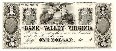 1800's Bank of the Valley of Virginia $1, Winchester UNC Obsolete Note [2943.06]
