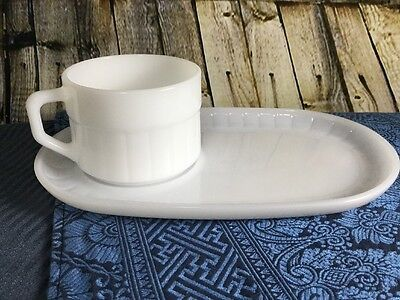 FEDERAL GLASS Milk White SOUP & SANDWICH CUP & PLATE/TRAY PAIR Set Lot Of 2