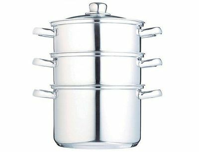 Kitchen Craft 3 Tier Polished Stainless Steel Food Steamer with Lid KCCVSTEAM20