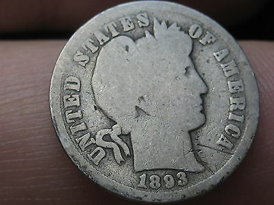 1893 S Silver Barber Dime- Full Date, Low Mintage