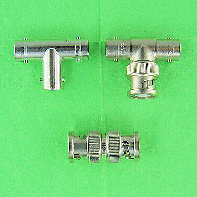 Set of 3 BNC Adapters 1 Tee (F-F-F), 1 Tee (M-F-F), 1 Inline (M-M) Coupler Union