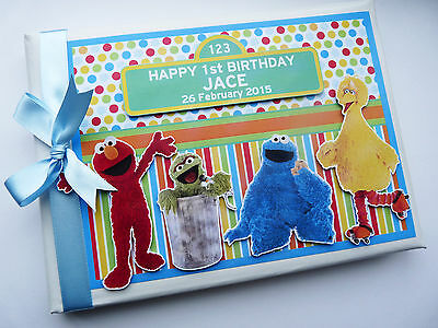 Personalised Sesame Street Boy/girl First/1St Birthday Guest Book Any Design