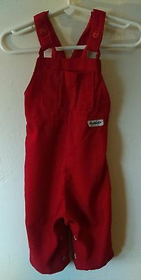 Vtg Red Overalls By Health Tex Size 12 Mos Vintage Retro Babys Romper One Piece