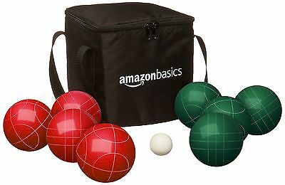 AmazonBasics Bocce Ball Set with Soft Carry Case 90mm
