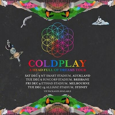 4 x Gold Seated Coldplay Tickets Sydney