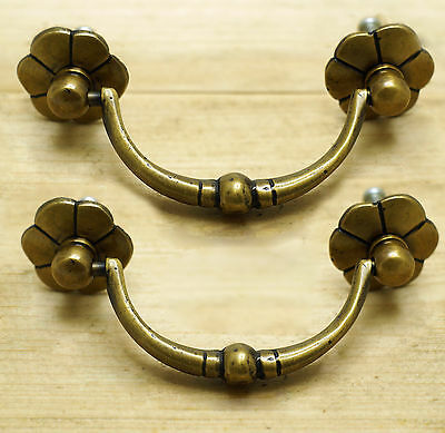 Set of 2 pcs Vintage Solid Brass Double Circles Handle Drawer Handle pulls