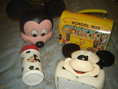 Disney Metal School Bus &  Mickey Mouse Lunch Box/thermos/vintage Tape Recoreder