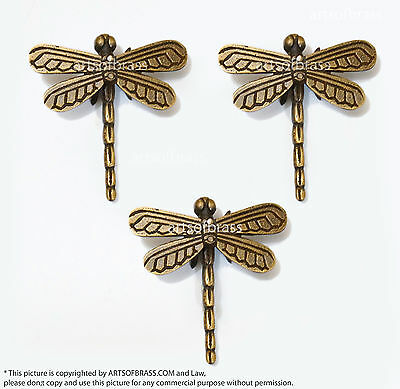 """2.95"""" 3 pcs Vintage Retro DRAGONFLY Animal Knobs Solid Brass Cabinet Drawer Pull"""