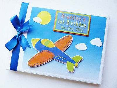 Personalised Vintage Plane Boys First/1St Birthday Guest Book Any Design